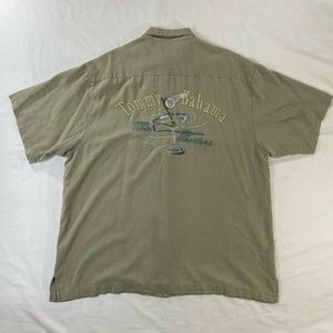 Tommy Bahama Men's XL Olive Embroidered Silk Shirt